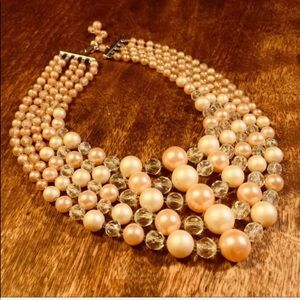 Vintage Champagne Pink & Clear Glass Necklace